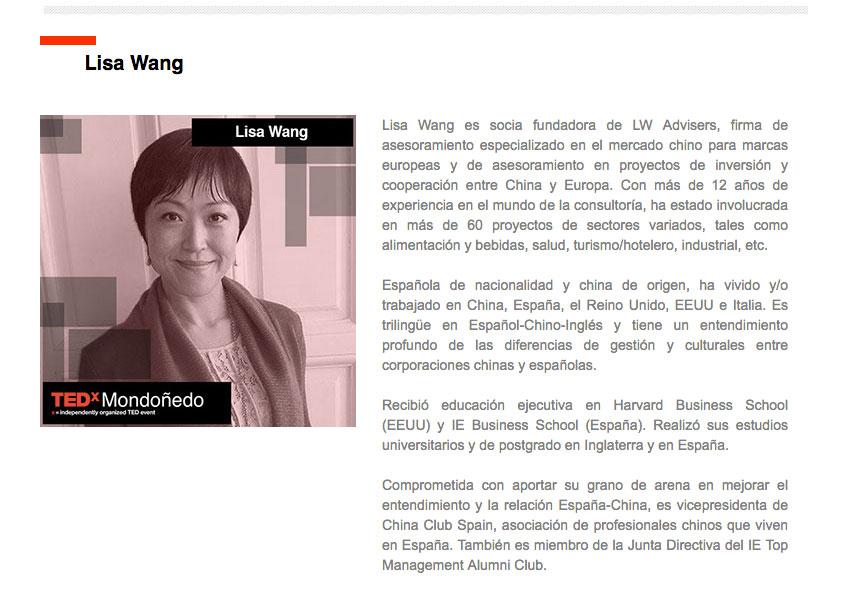 Lisa Wang como Speaker para el TEDx Mondoñedo (Galicia)