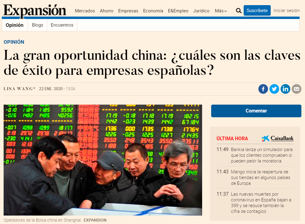 "Opinion Article By LW Advisers At Spanish Economic Newspaper ""Expansion"" On The Business Opportunities That China Market Offers"